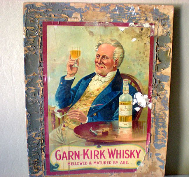 Large Old Garn-Kirk Whiskey Advertising Board