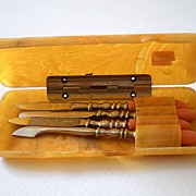 Vintage Celluloid Manicure Set Travel Size With Case