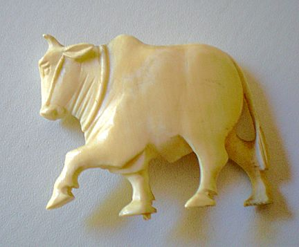 Old Carved  Sacred Cow Figure