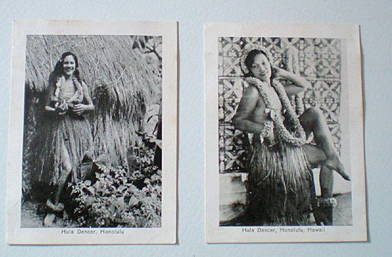 (2) Old Hawaiian Hula Girl Photographs