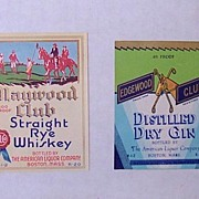 2 Vintage Unused Liquor Bottle Labels Equestrian Horse And Riders