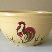 Large Vintage Watt Pottery Mixing Bowl Rooster