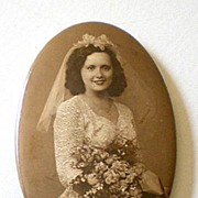 Vintage Pocket Mirror Real Photo Bride