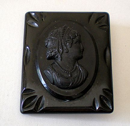 Large Black BAKELITE Cameo Mourning Brooch