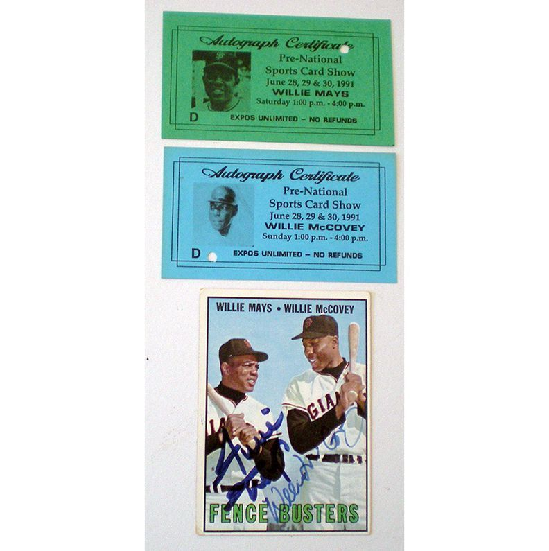 1967 Topps MLB Card #423  Mays/McCovey Autographed