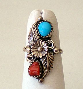 Signed Vintage Sterling Silver Turquoise & Coral Ring
