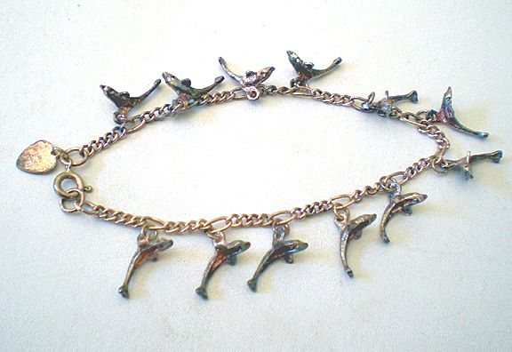 Delicate Sterling Silver Bracelet With Dolphin Charms