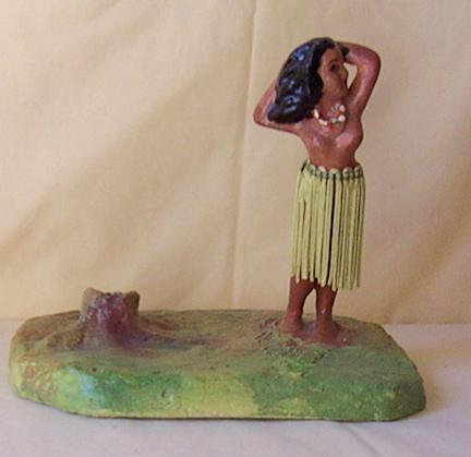 Vintage Chalk Or Plaster Hula Girl Figurine On An Island