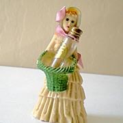 Vintage Mini Perfume Bottle w/ Figural Holder Pretty Lady