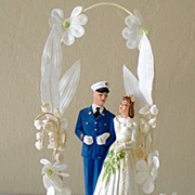 1950 Chalk Wedding Cake Topper Bride & Military Groom