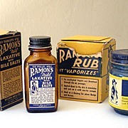 (2) Vintage 1930's Glass  Advertising Bottles in Boxes Ramon's