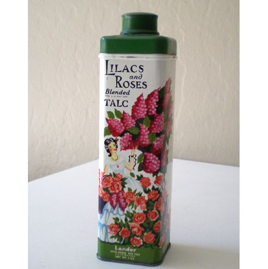 All Tin Vintage Lander Lilacs & Roses Talcum Powder