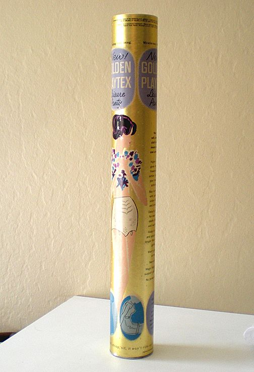 1961 Playtex Girdle Cardboard Tube Tall With Great Graphics