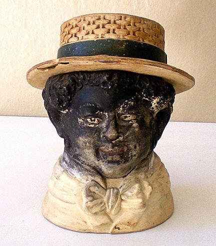 Rare Vintage Black Americana Tobacco Jar Negro Man From