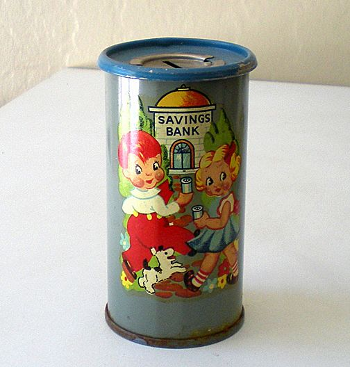 1930's Child's Tin Saving Bank