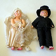 Very Old Celluloid Bride & Groom Dolls or Wedding Cake Top