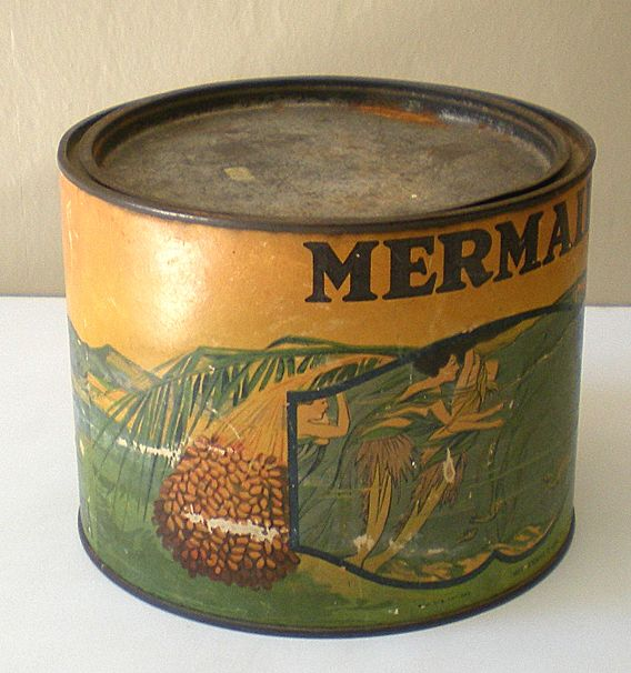 "LARGE Old Advertising Tin ""Mermaid Brand"" Dates"