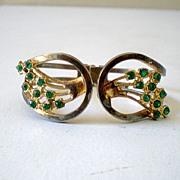 Vintage Clamper Bracelet With Green Rhinestones