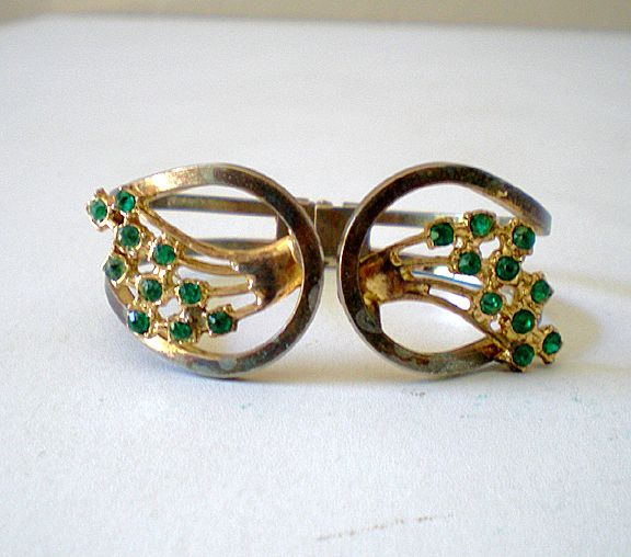 Vintage Clamper Bracelet With Green Rhinestones