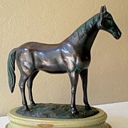 Large Bronze Metal Horse on Base *NICE*