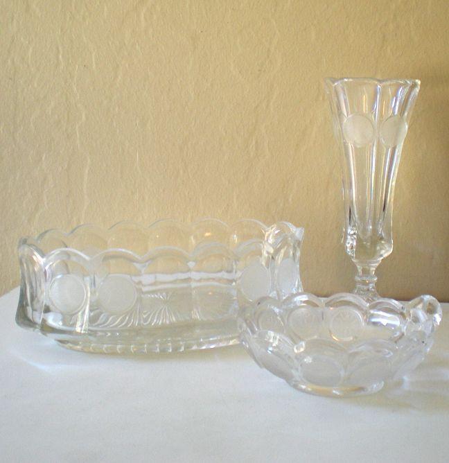 (3) Pieces Vintage Fostoria Coin Glass