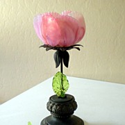 Antique Victorian Pink Rose Art Glass and Metal Candle Holder