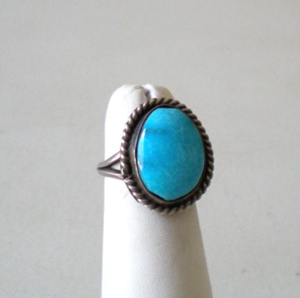 Vintage Ring Silver With Large Blue Stone