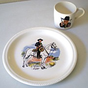 1950s Hopalong Cassidy Cowboy Dinner Set Plate & Mug
