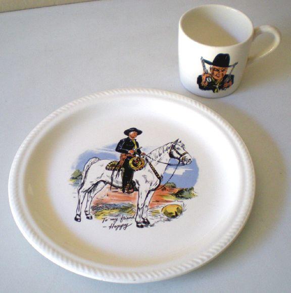 1950s Hopalong Cassidy Cowboy Dinner Set Plate & Mug