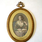 Early Steel Point Engraving In Fabulous Frame Girl Reading