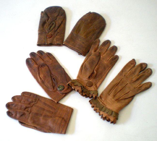 (3) Pair of Vintage Children's Kid Leather Gloves Mittens