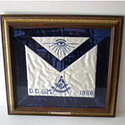 Framed 1966 Mason Ceremonial Apron D.D.G.M. Mystic Eye