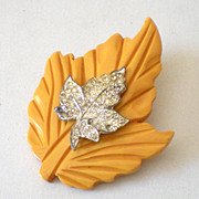 Large Butterscotch BAKELITE Carved Leaf Brooch With Rhinestones