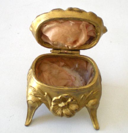 Victorian Era Art Nouveau Style Metal Footed Ring Box