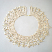 Lovely Old Hand Crochet Collar w/ Gold Beads