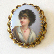 Large Victorian Hand Painted Portrait Brooch