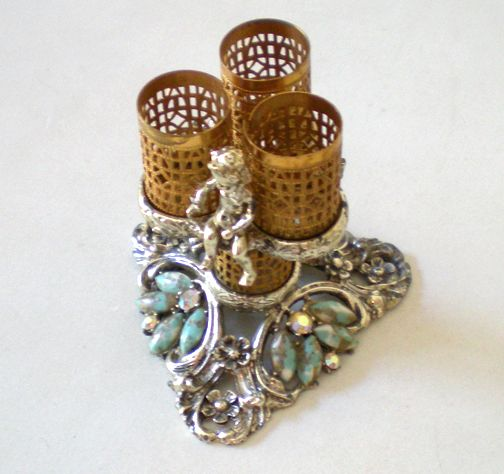 Ornate Jeweled Lipsticks Holder With Cherub Signed