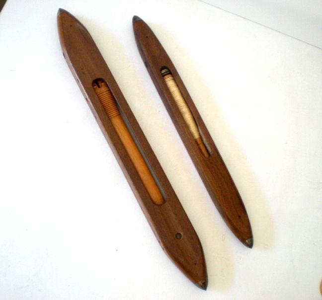 (2) Old Wood Loom Weavers Shuttles