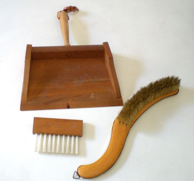 Old Clothes Brush and Wood Brush and Crumb Butler