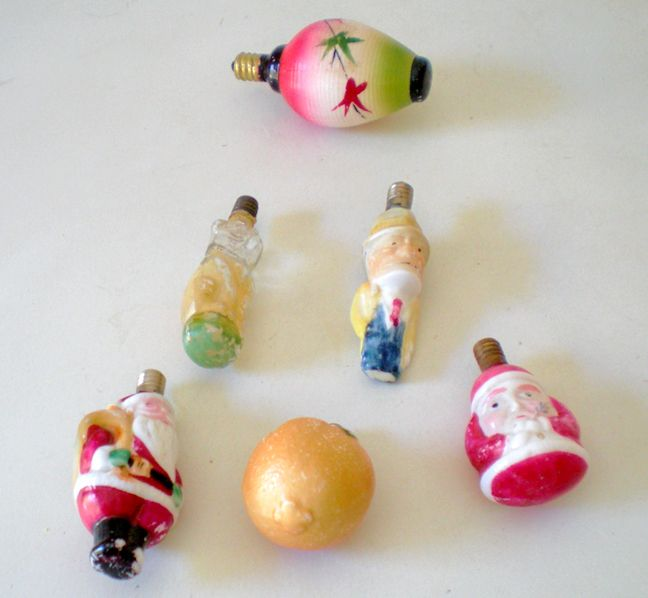 Vintage figural christmas tree bulb lights from