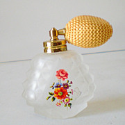 Vintage Frosted Glass Perfume Bottle With Atomizer