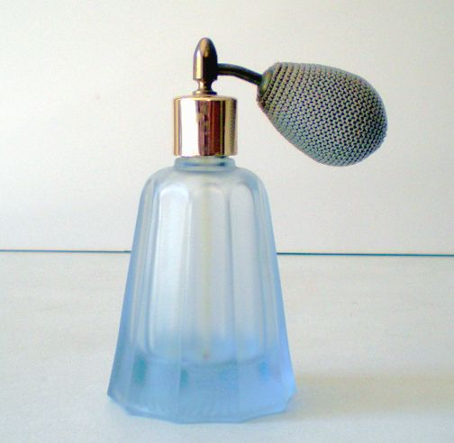 Frosted Blue Glass Perfume Bottle With Atomizer