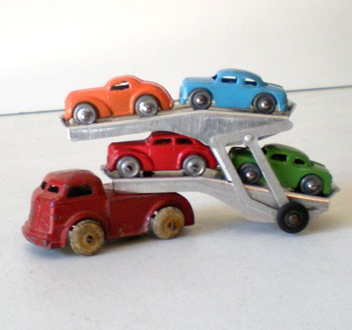 1940s Barclay Die Cast Metal Transport Truck & 4 Cars