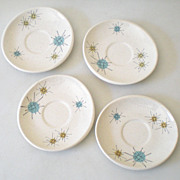 1950s Atomic Franciscan Starburst Pattern Saucers