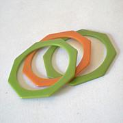 (2) 1930s Green Bakelite Octagon Bracelets