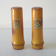 Vintage Bamboo Salt & Pepper Shakers Royal Hawaiian Crest