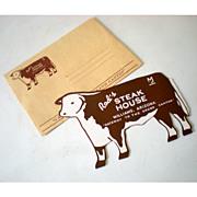 1950s Rod's Steak House Figural Cow Menu + Envelops