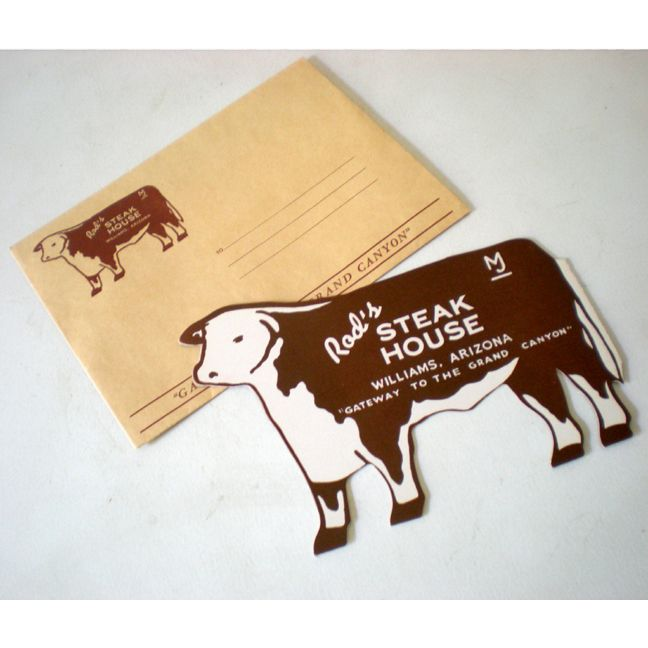 1950s Rod's Steak House Figural Cow Menu + Envelops