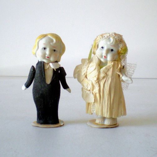 (2) 1930s  Bisque Dolls Bride & Groom Cake Topper