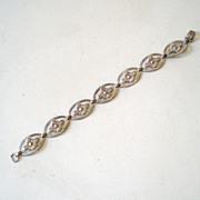 Vintage Sterling Silver Flower Link Bracelet
